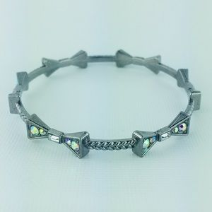 Aurora Borealis Bow Silver Tone Bangle Bracelet